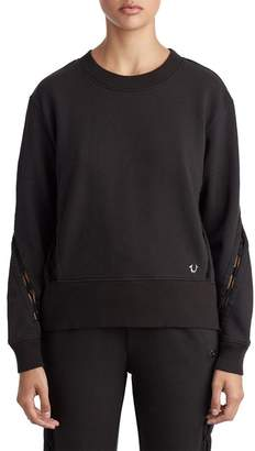 True Religion Ladder Lace-Up Crew Neck Pullover