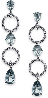 Danori Silver-Tone Crystal Circle Linear Drop Earrings, Created for Macy's
