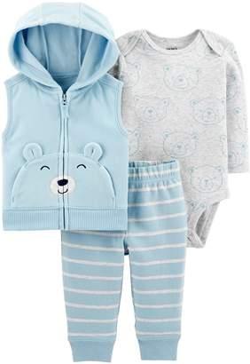 Carter's Baby Boy Fleece Vest, Bear Bodysuit & Pants Set