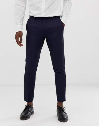 Moss Bros Skinny Cropped Suit Pants In Navy