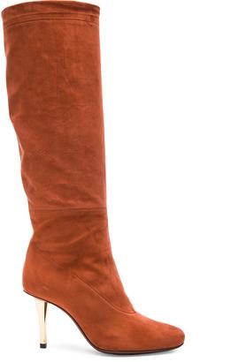 Lanvin Draped Nubuck Calfskin Boots $1,945 thestylecure.com