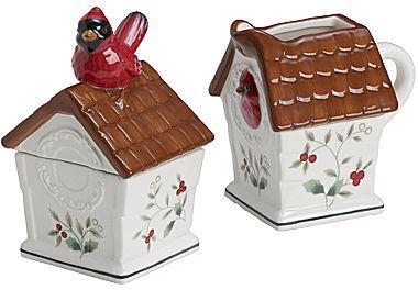 Pfaltzgraff Winterberry Cardinal Sugar And Creamer