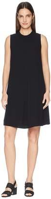Eileen Fisher Silk Georgette Crepe Mock Neck Short Dress Women's Dress