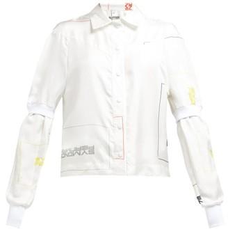 Symonds Pearmain - Double Sleeve Logo Print Satin Shirt - Womens - White Multi