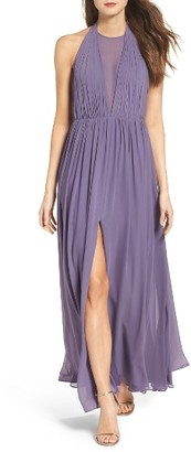 Women's Vera Wang Illusion Plunge Chiffon Gown $268 thestylecure.com