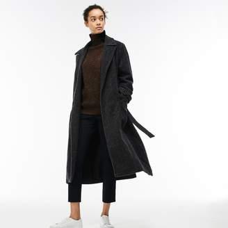 Lacoste Women's Long Belted Tweed Coat