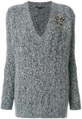 Ermanno Scervino v-neck cable knit applique sweater