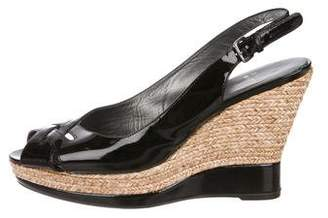 Stuart Weitzman Patent Leather Espadrille Wedges
