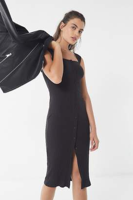 Urban Outfitters Ribbed Knit Square-Neck Midi Dress