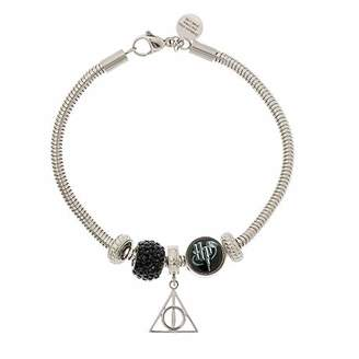 Harry Potter Stainless Steel Deathly Hollows Beaded Bundle Charm Bracelet