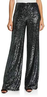 Alice + Olivia Dylan High-Rise Wide-Leg Sequined Pants