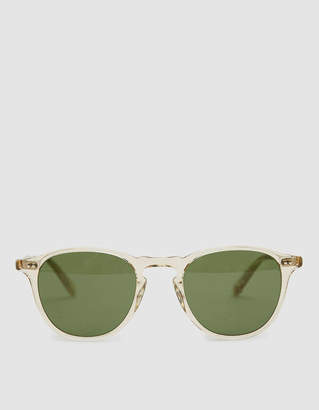 Garrett Leight Hampton Horn-Rim Sunglasses in Champagne / Pure Green