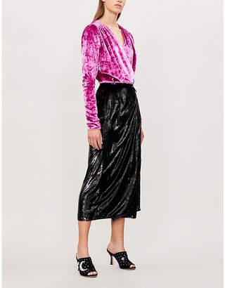 ATTICO Wrap-over velvet and satin midi dress