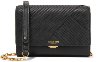 Michael Kors Collection - Yasmeen Small Quilted Leather Shoulder Bag - Black $690 thestylecure.com