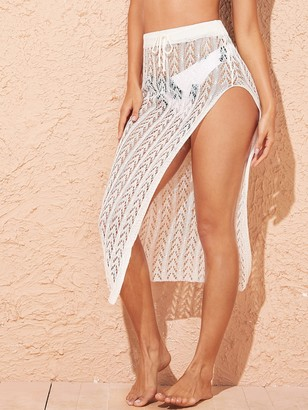 Shein Drawstring Waist Split Thigh Crochet Cover Up Skirt