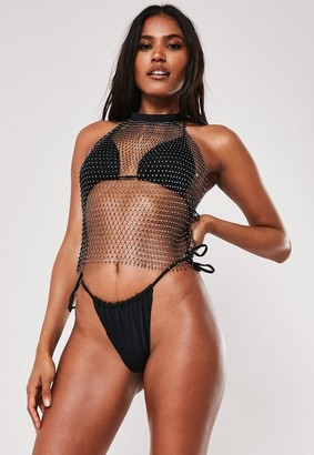 Missguided Premium Black Fishnet Jewelled Top