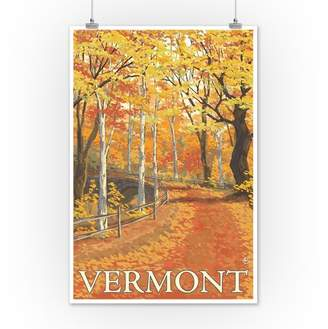 Vermont - Fall Colors Scene - Lantern Press Artwork (12x18 Art Print, Wall Decor Travel Poster)