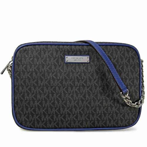 Michael Kors Large Jet Set Crossbody Bag - Black/Electric Blue - ONE COLOR - STYLE