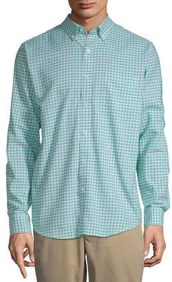 ST. JOHN'S BAY Long Sleeve Gingham Slim Button-Front Shirt Mens