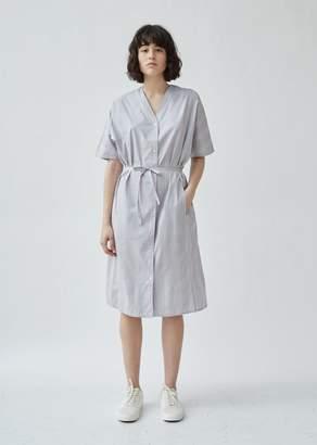 6397 Cotton Poplin Plaid V-Neck Shirtdress
