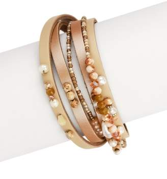 Saachi Camel Priya Beaded Wrap Bracelet