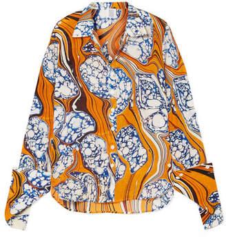Rosie Assoulin Printed Silk-blend Crepe De Chine Shirt - Saffron