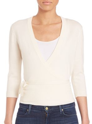 Theory Mellia Wrap Merino Wool Crossover Top $265 thestylecure.com