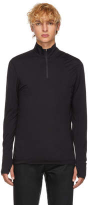 Sunspel Black Merino Zip Neck T-Shirt
