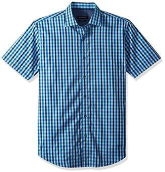 Bugatchi Men's Fitted Short Sleeve Point Collar Glitch Print Cotton Shirt