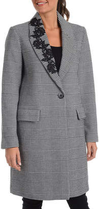 Kensie Glen Plaid Lace Detail Topper Jacket