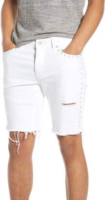 Topman Ripped Studded Skinny Shorts