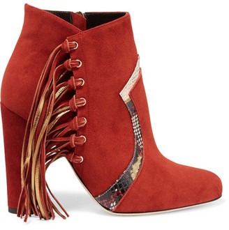 Brian Atwood - Harlow Fringed Elaphe-trimmed Suede Ankle Boots - Brick $895 thestylecure.com