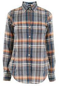 Theory Cotton plaid loose fit shirt