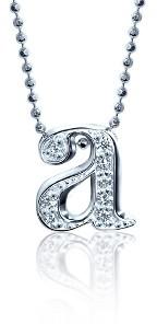 Alex Woo Lowercase Diamond 'A' Necklace - White Gold