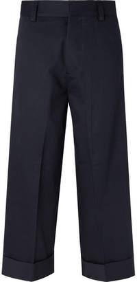 Alexander McQueen Navy Wide-Leg Cotton-Gabardine Trousers