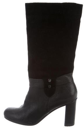 Armani Jeans Suede Mid-Calf Boots