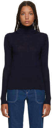 Chloé Navy Scalloped Turtleneck