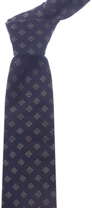 Canali Navy Squares Wool & Silk-Blend Tie
