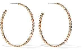 Noir Baria 14-Karat Gold-Plated Crystal Hoop Earrings