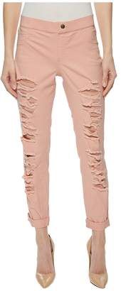 Hue Ripped Cuffed Denim Skimmer Women's Casual Pants