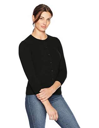 Lark & Ro Women's Softest 100% Cashmere Three Quarter Sleeve Crewneck Cardigan Sweater