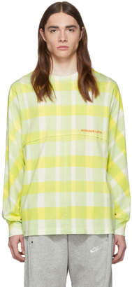 Eckhaus Latta Yellow Grid Lapped Long Sleeve T-Shirt
