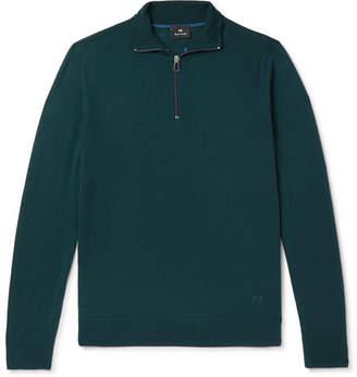Paul Smith Slim-fit Piped Merino Wool Half-zip Sweater - Teal