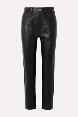 RE/DONE 50s Cigarette Cropped Straight-leg Leather Pants - Black