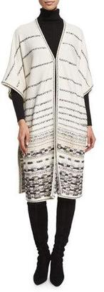 St. John Collection Toma Striped Long Jacket, Frost/Multi $1,795 thestylecure.com