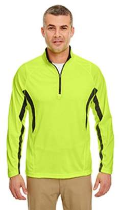 UltraClub Adult Cool & Dry Colorblock Dimple Mesh Quarter-Zip Pullover - YELLOW/ FLINT - 2XL 8434