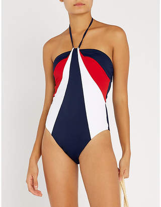 Tommy Hilfiger Colourblocked halterneck swimsuit