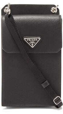 Prada Saffiano Leather Iphone Case - Mens - Black