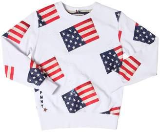 Fred Mello Usa Flag Printed Cotton Sweatshirt