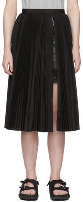 Sacai Black Pleated Poplin Skirt